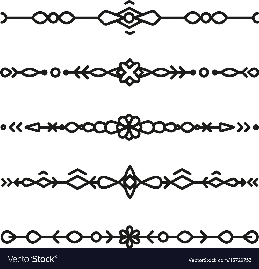 Set of divider ornaments ethnic separator style vector image