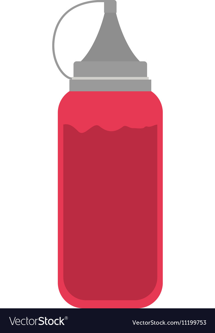 Silhouette color with bottle ketchup vector image