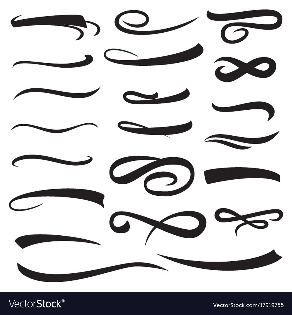 Set of yellow hand lettering convex underlines vector image