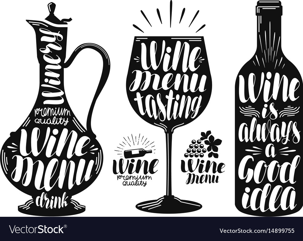 Wine winery label set decanter drink glass vector image