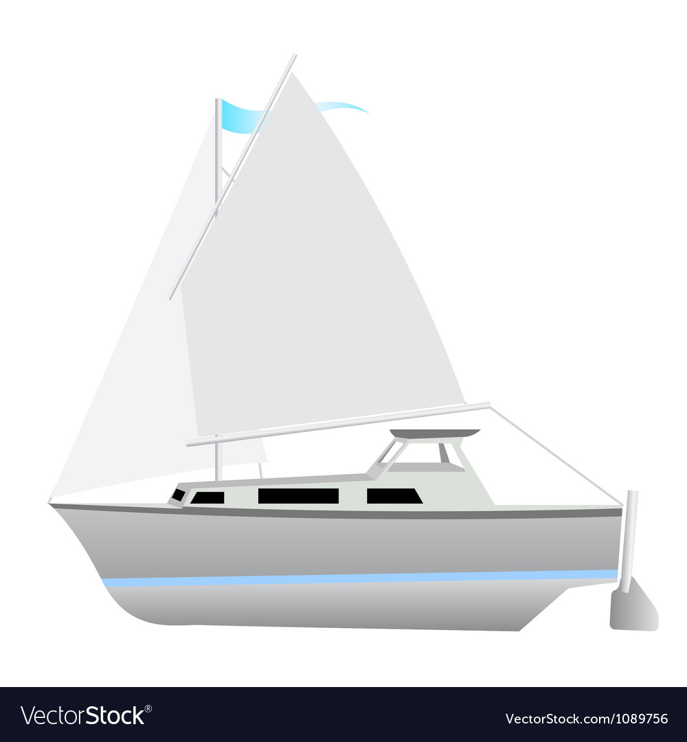 Sailing boat floating vector image