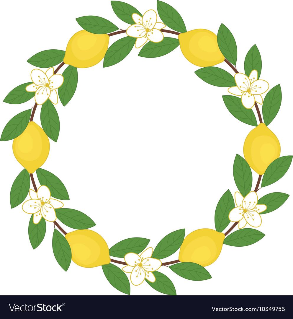 Lemon Wreath Royalty Free Vector Image Vectorstock