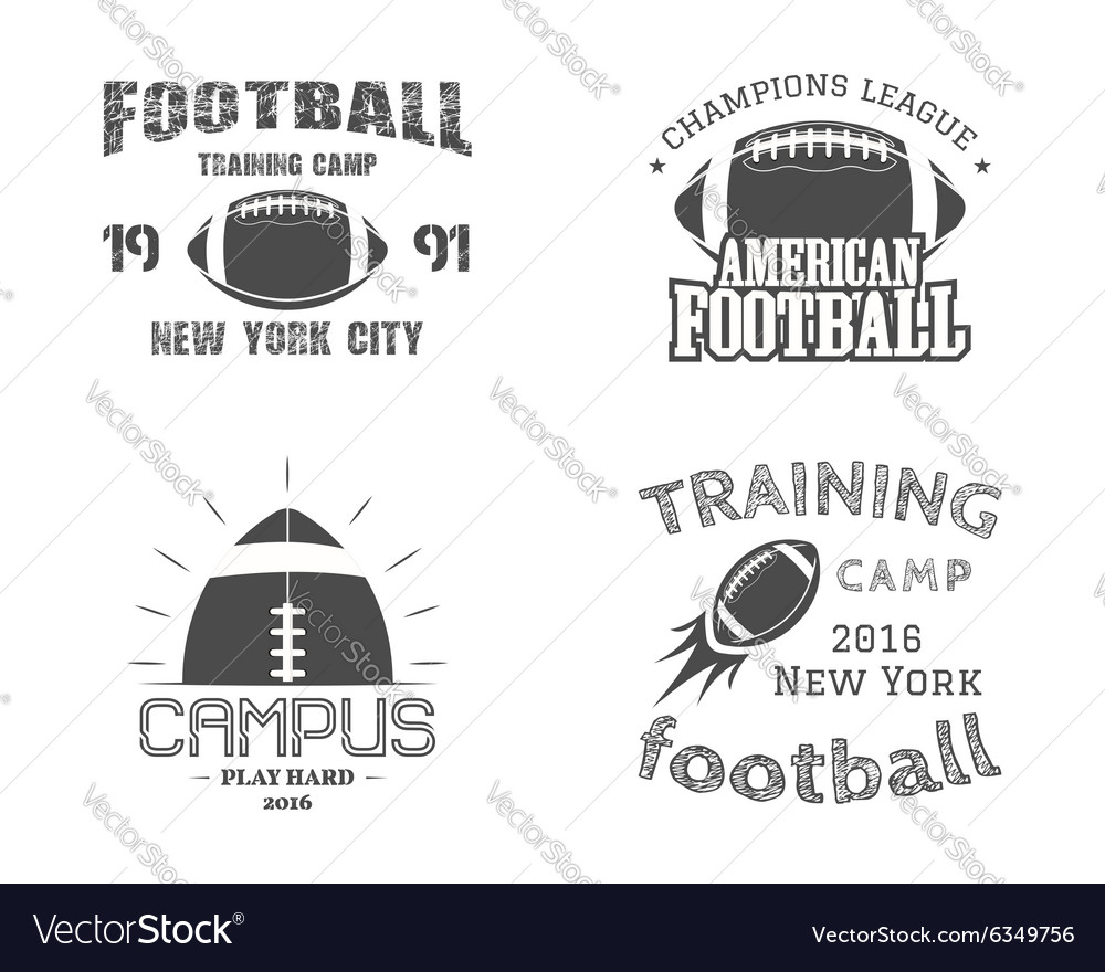 Set of american football team campus badges logos vector image