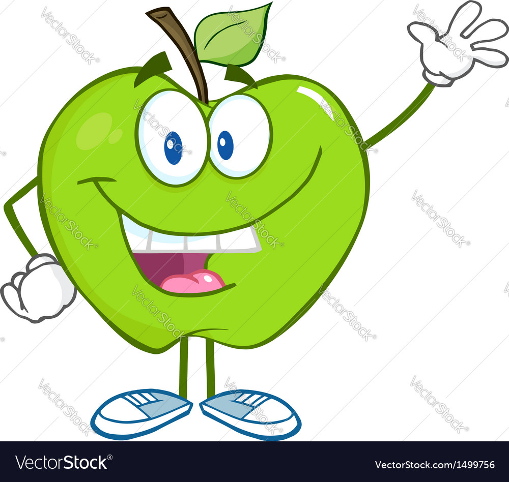 Smiling Green Apple Character Waving For Greeting vector image