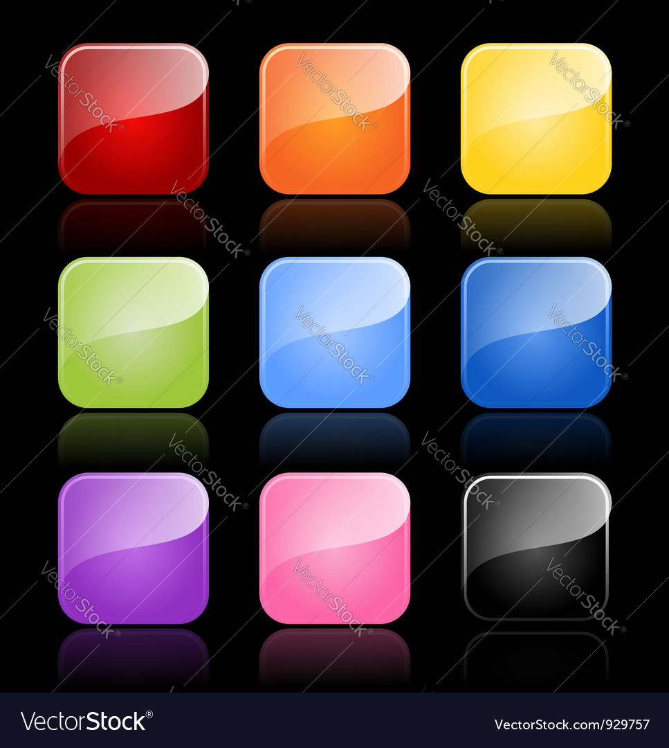 Glossy blank buttons in color variations vector image