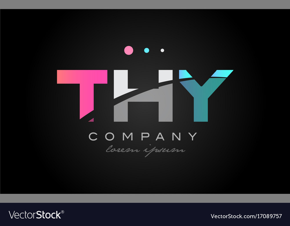 Thy t h y three letter logo icon design vector image