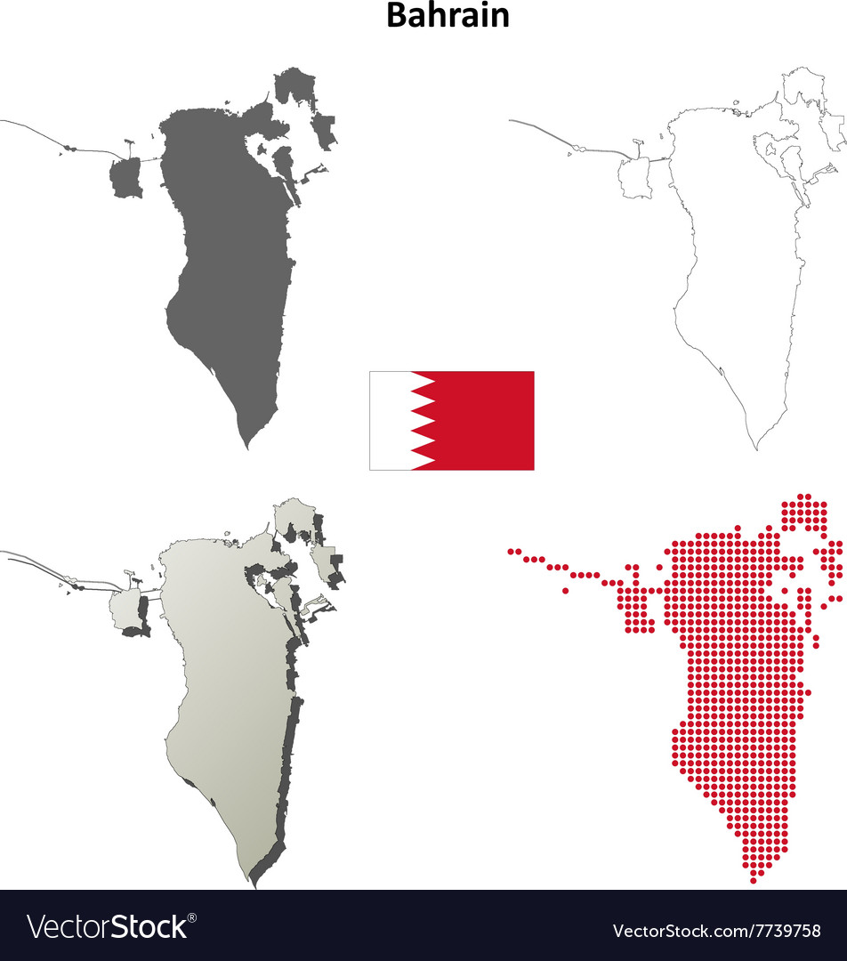 Bahrain Outline Map Set Royalty Free Vector Image - Bahrain map vector