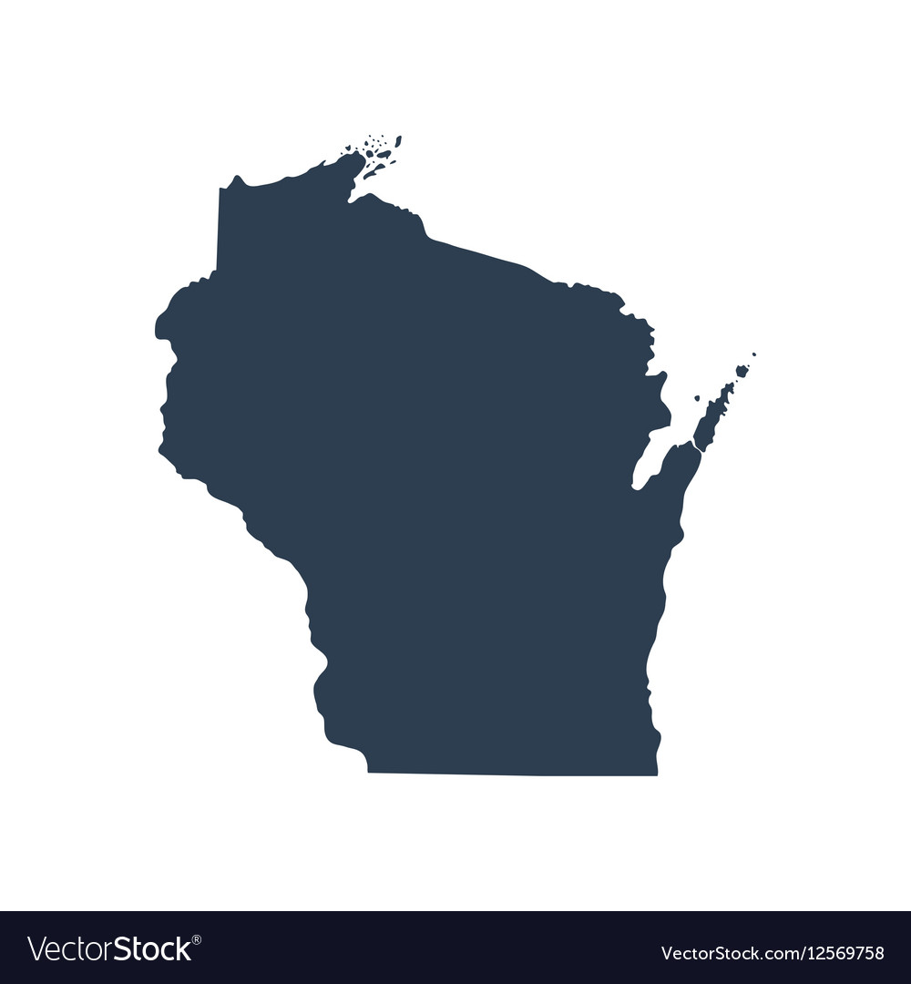 Map of the US state Wisconsin Royalty Free Vector Image