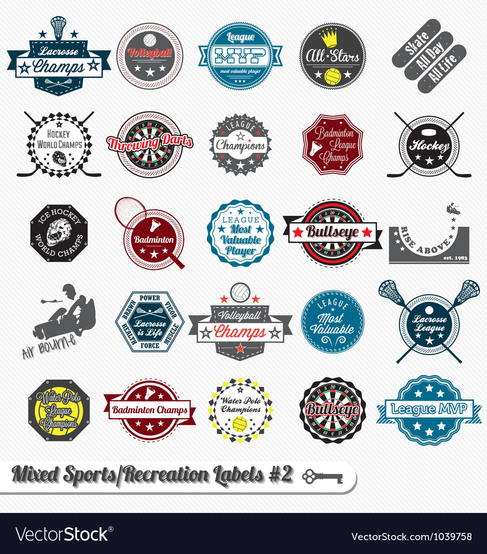 Mixed Sport and Recreation Labels vector image