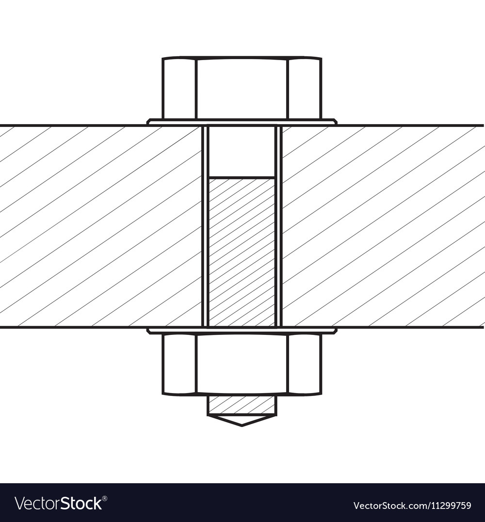 Bolt with Nut Set Hatched Material Hold by Bold vector image