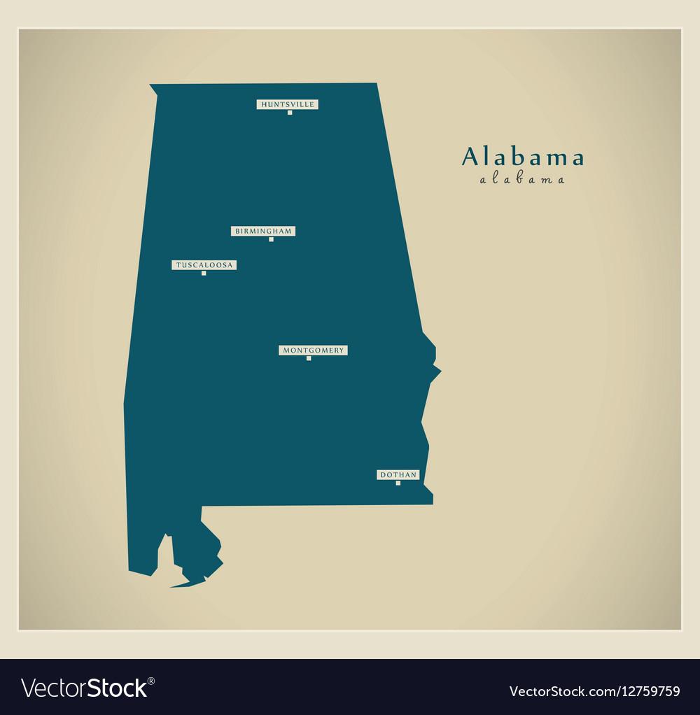 Modern Map USA Alabama Royalty Free Vector Image VectorStock - Map usa alabama