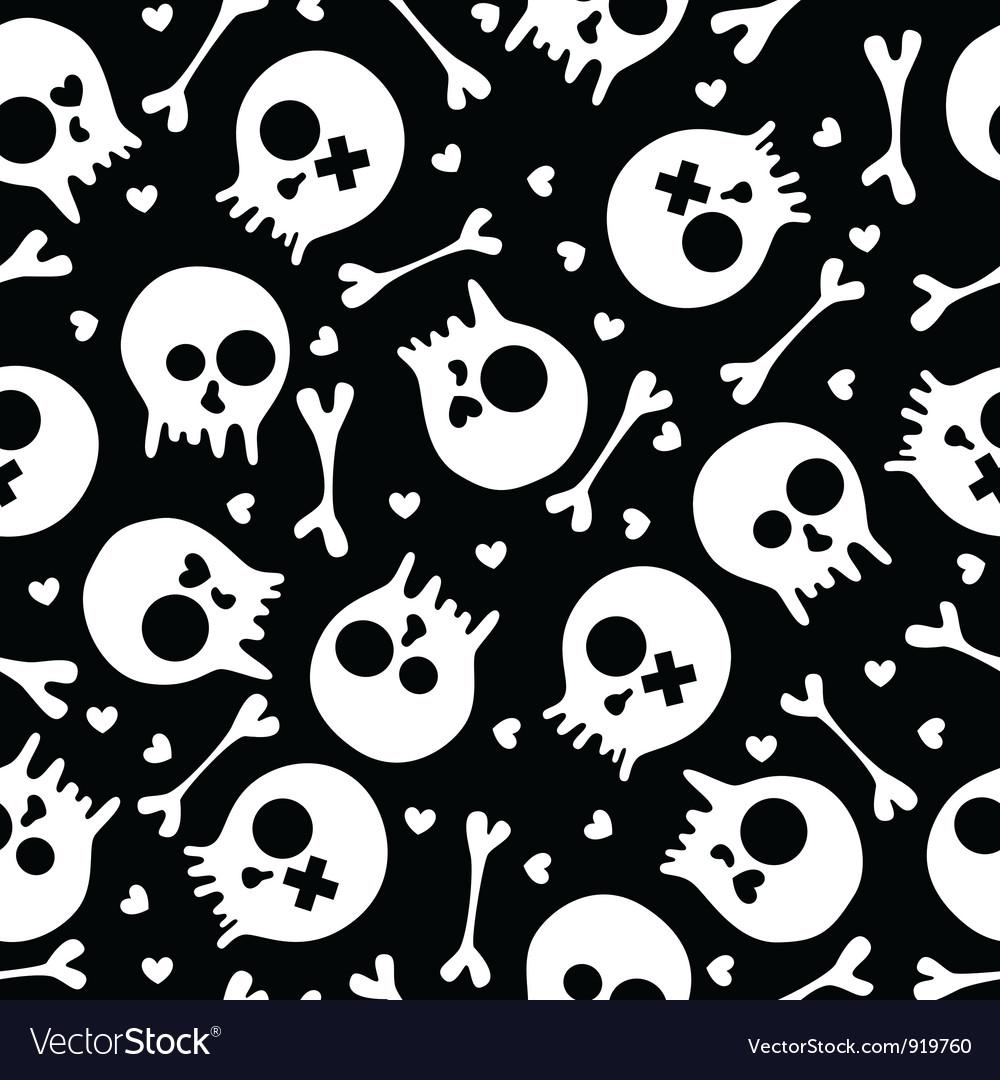 Skulls seamless pattern vector image