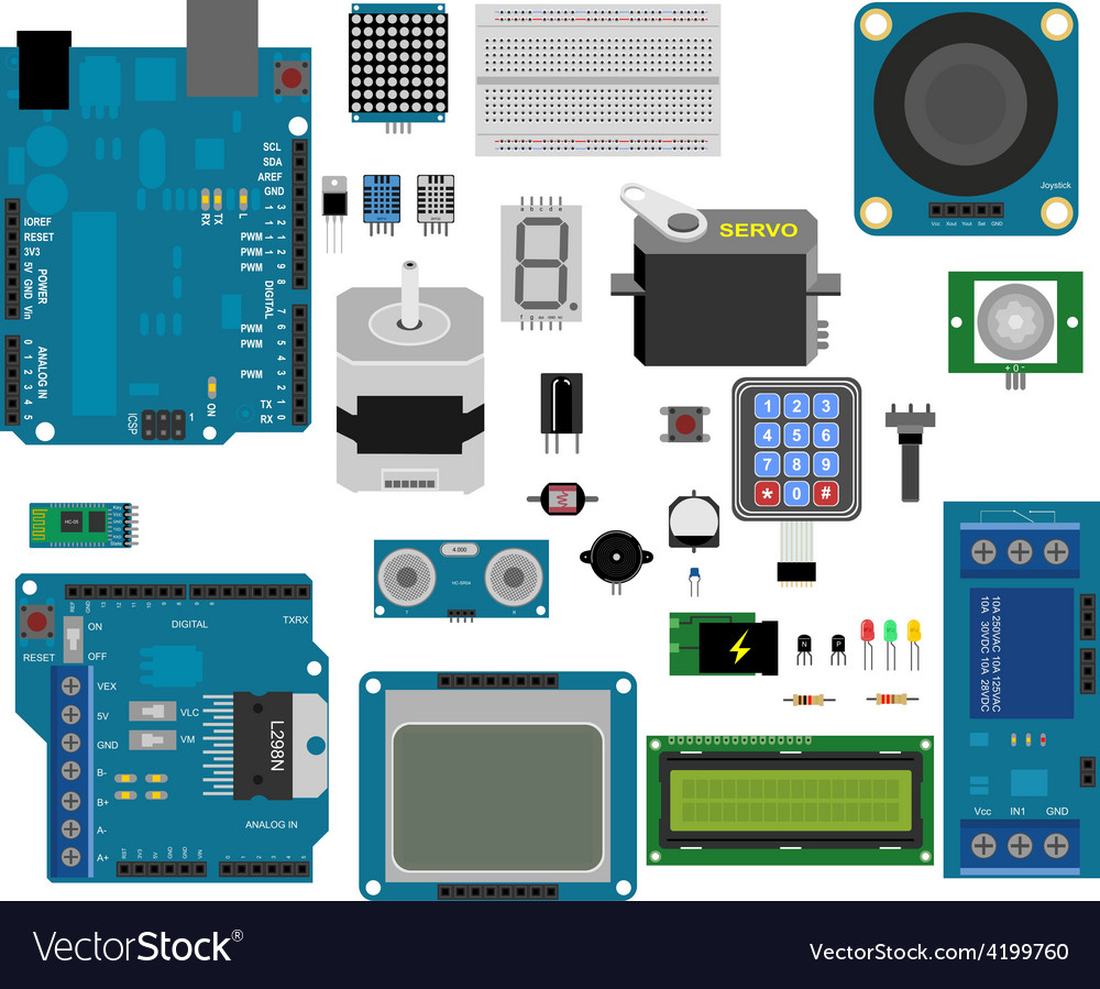Arduino electronic elements vector image