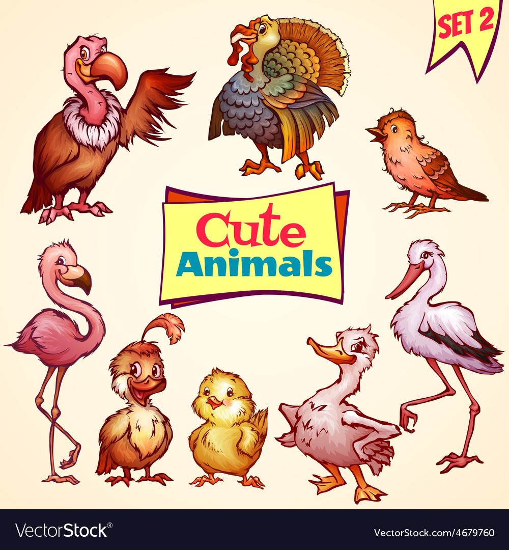 Set of cute birds Turkey goose flamingo vector image