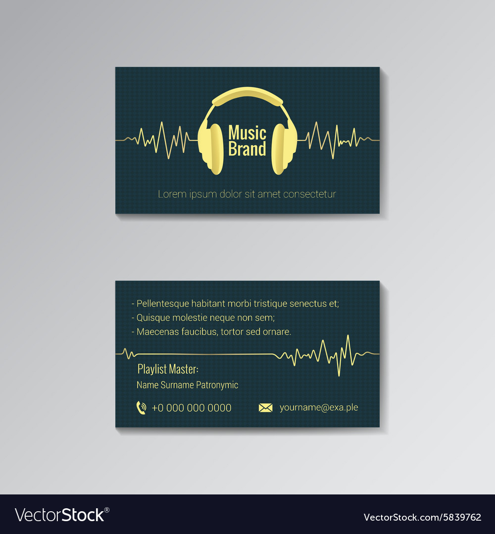 Business card template for music brand Royalty Free Vector