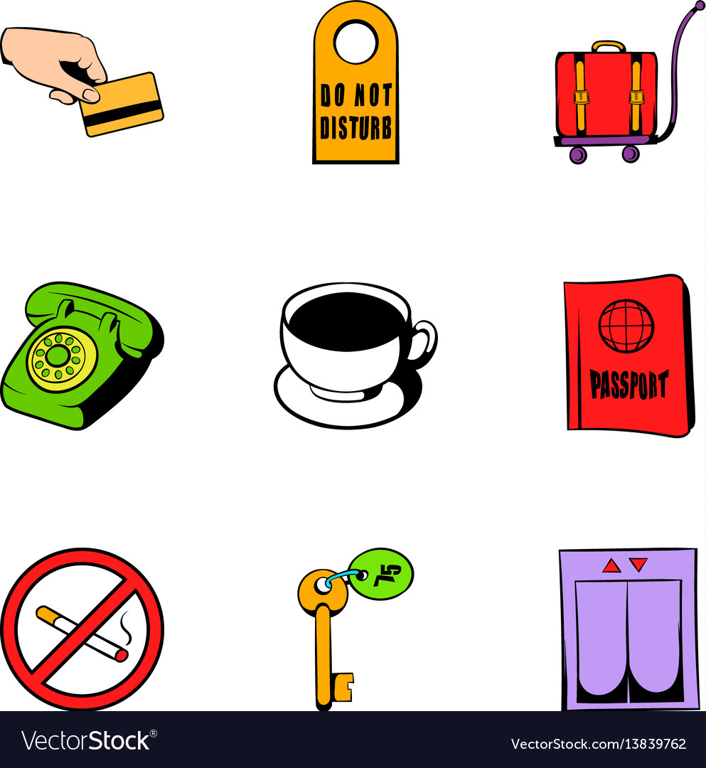 Receptionist icons set cartoon style vector image