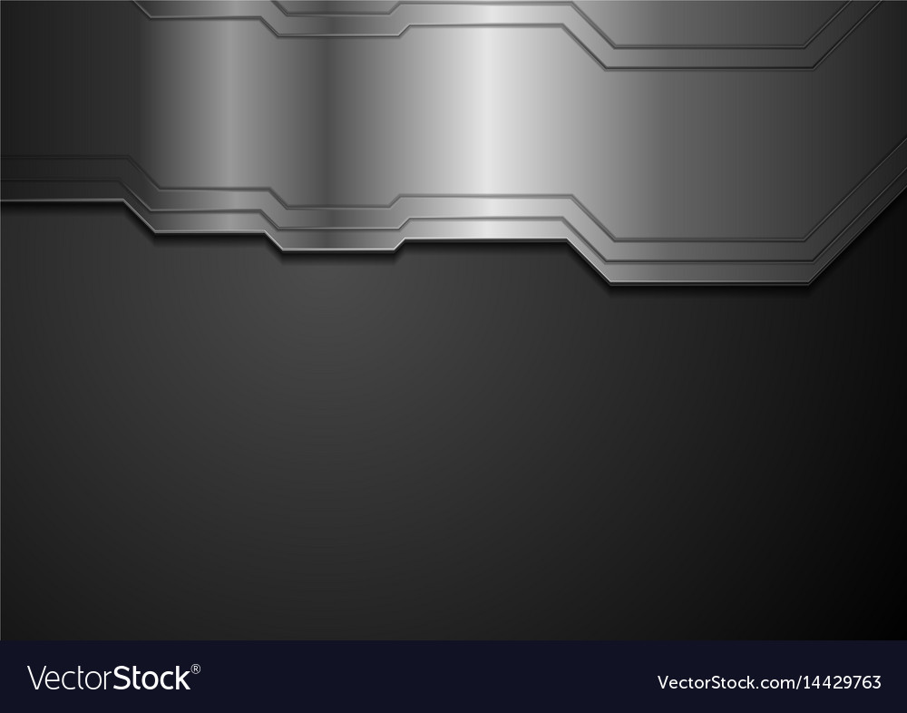 Abstract tech metallic black background vector image
