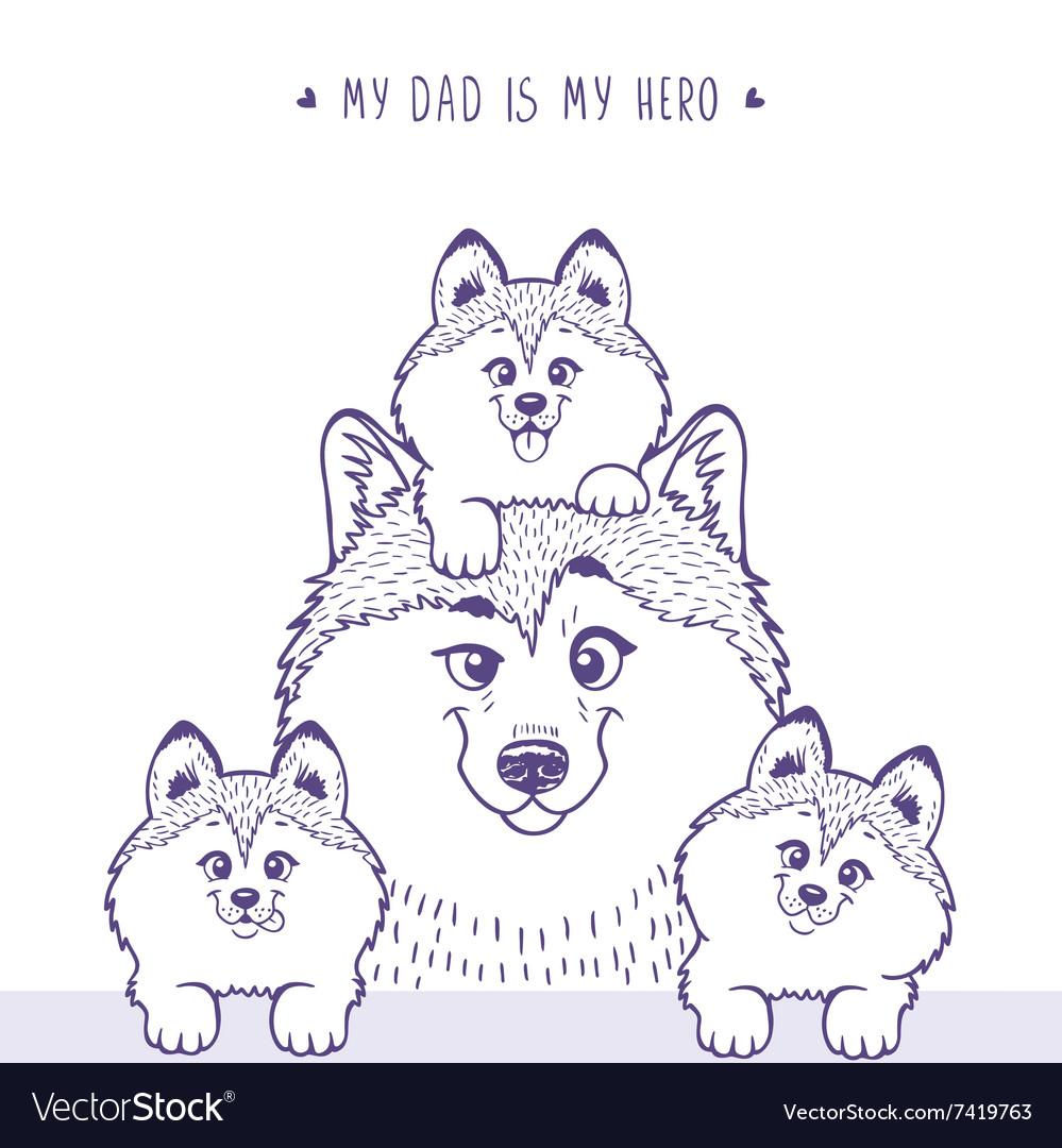 Family Husky silhouette vector image
