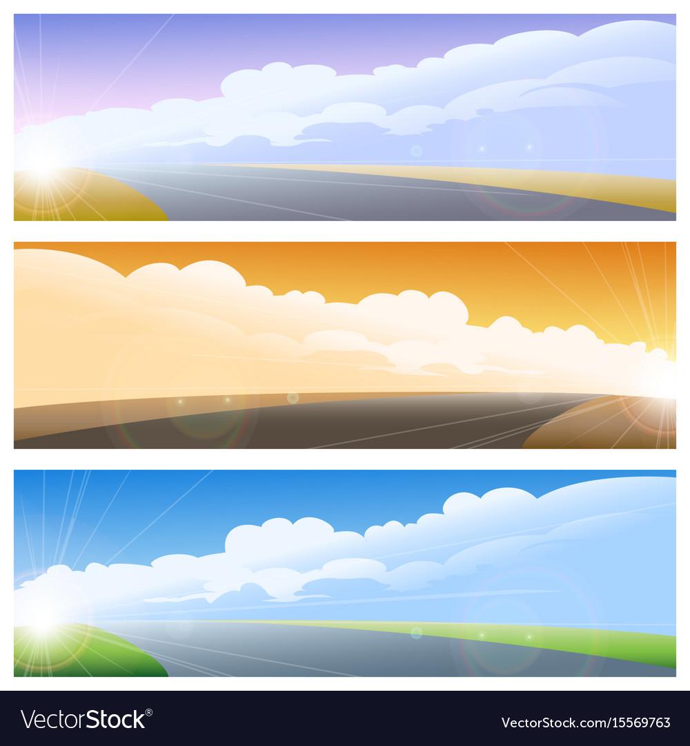 Highway road background set vector image