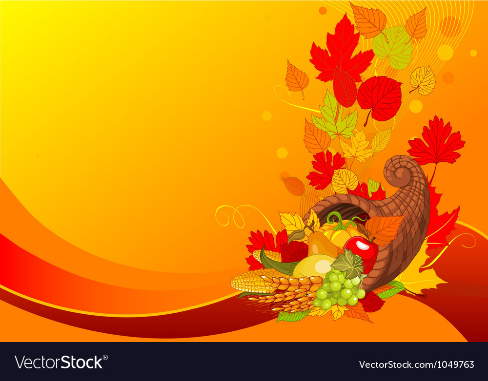 Horn of plenty background vector image
