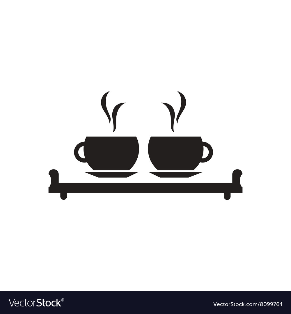 Flat icon in black and white couple cups vector image