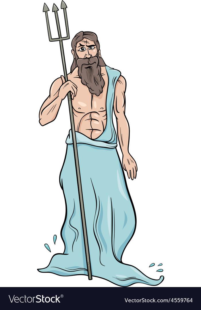 Greek god poseidon cartoon vector image
