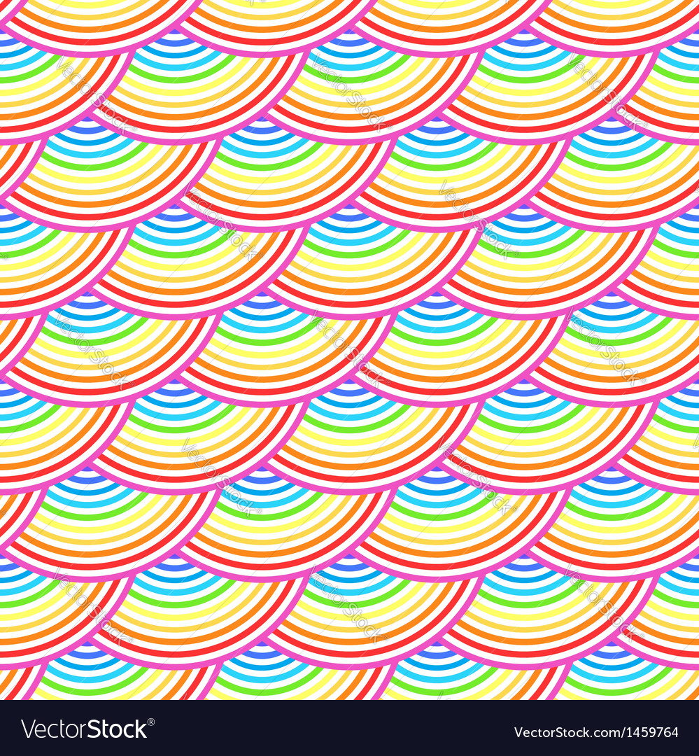 Rainbow fish scales seamless pattern vector image