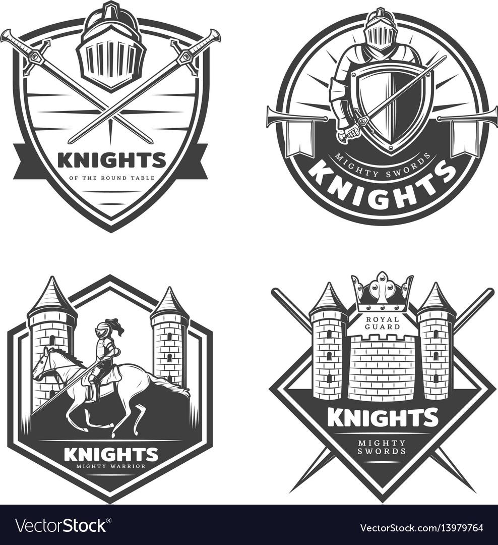 Vintage medieval emblems set vector image