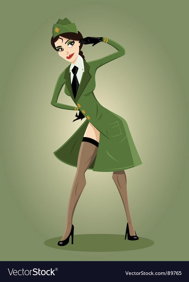 Army girl pin up illustration vector image