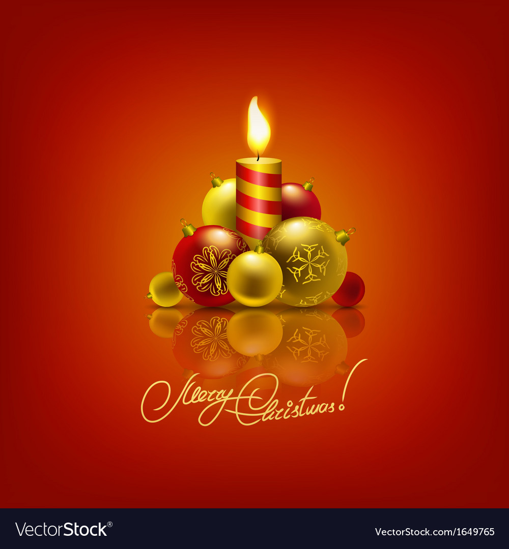 Background with baubles christmas tree vector image