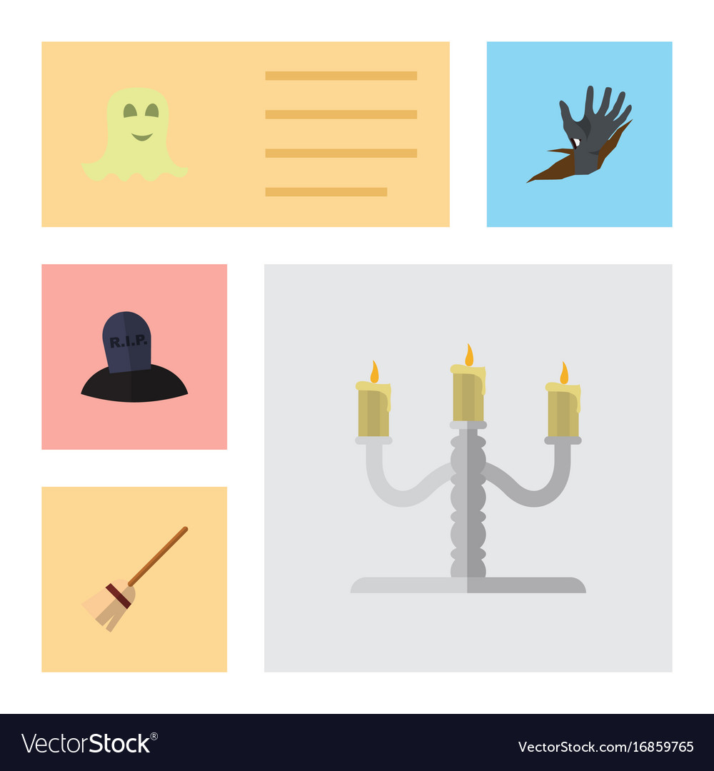 Flat icon halloween set of candlestick spirit vector image