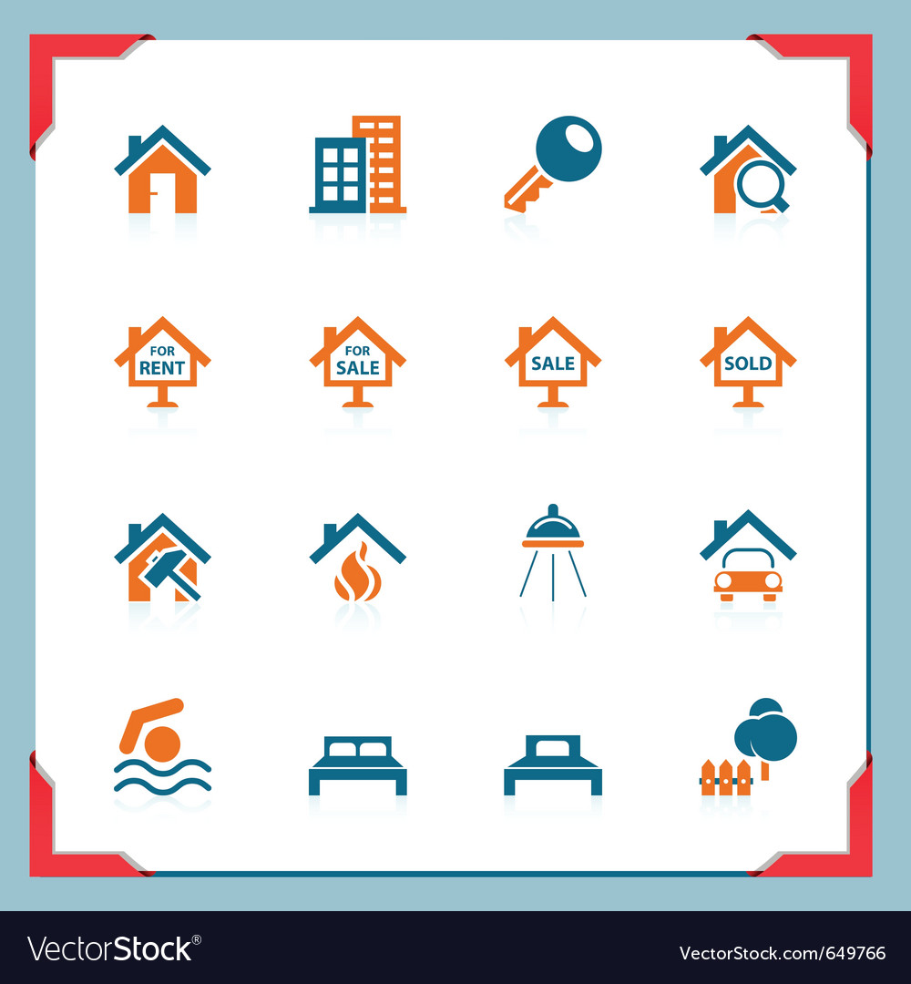 Real estate icons in a frame series vector image