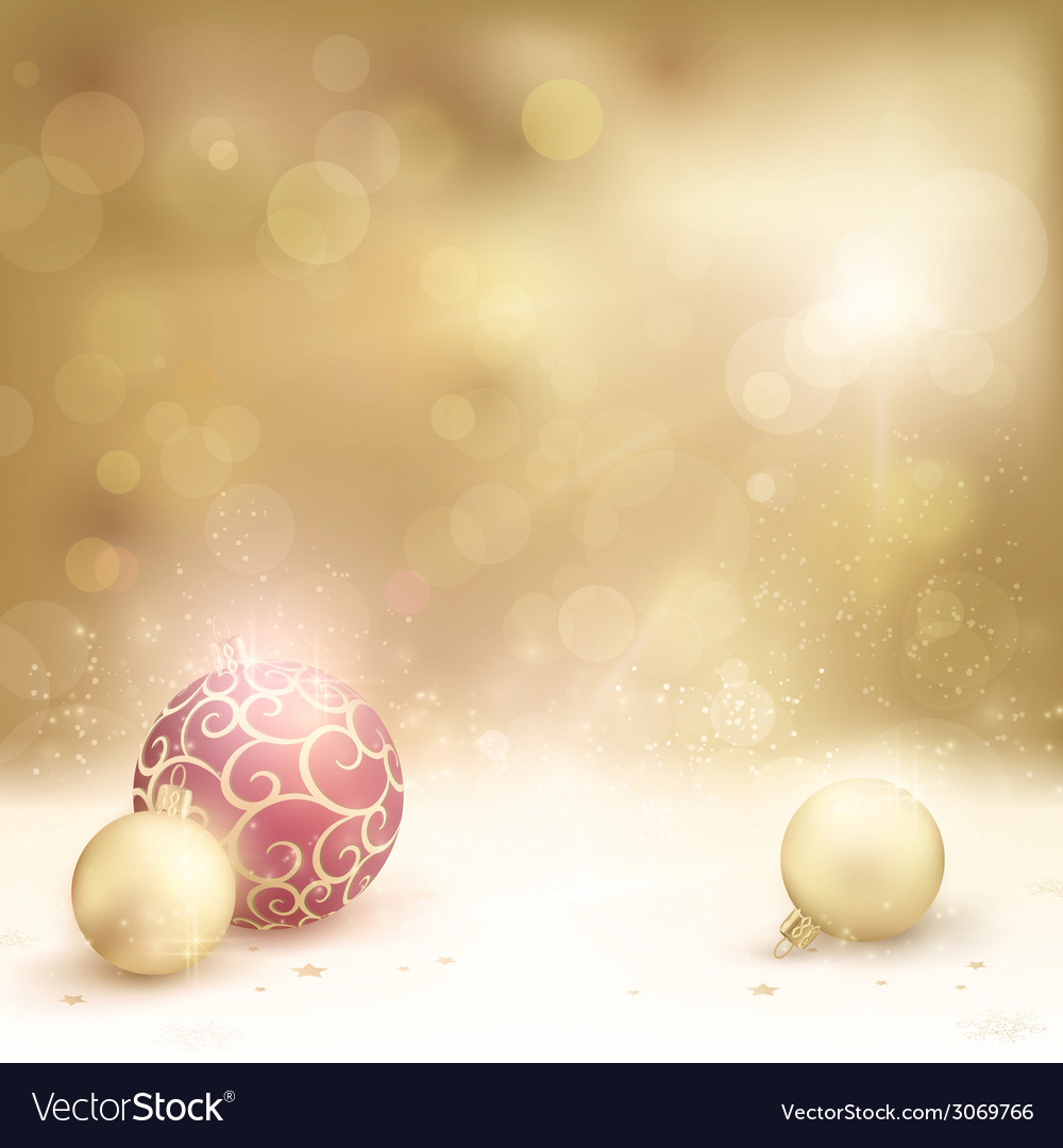 Golden Christmas background with baubles vector image
