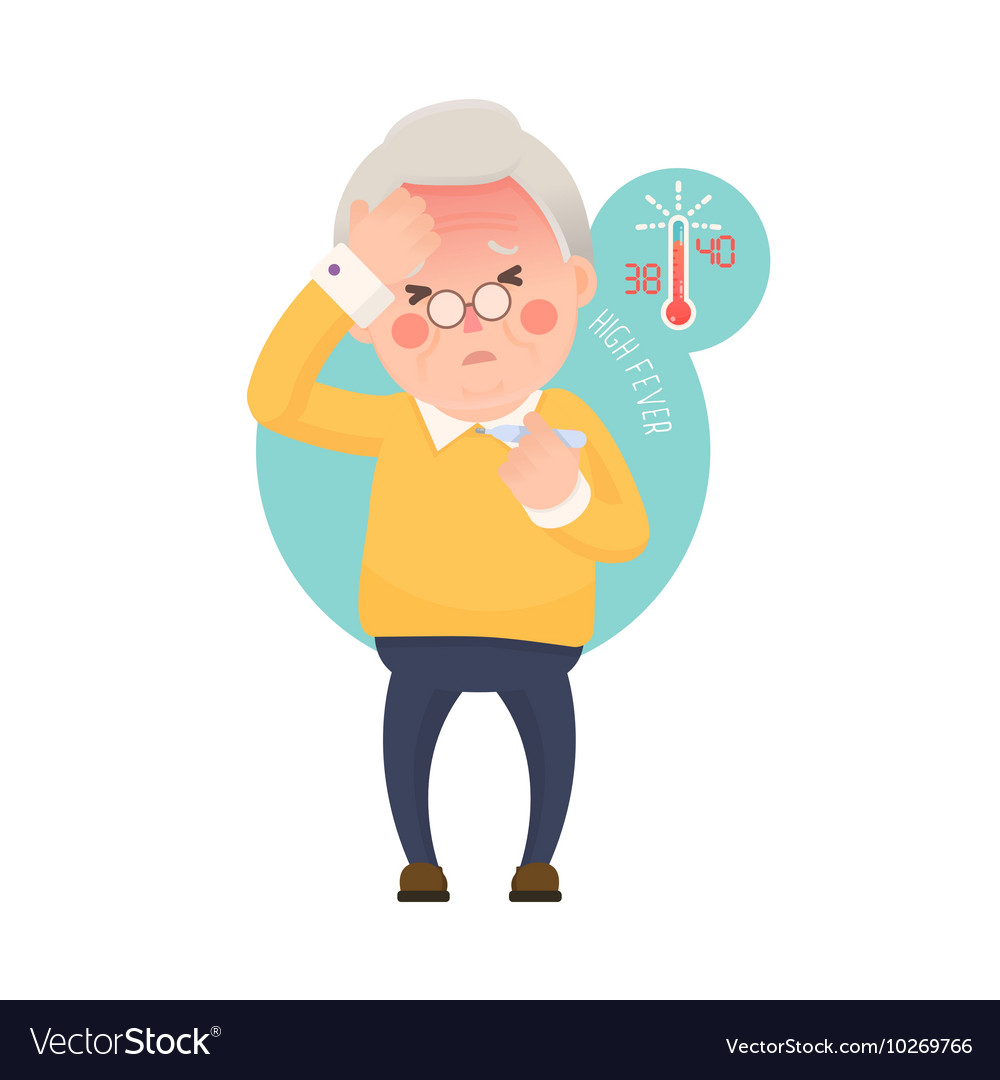 Senior Man with Fever Checking Thermometer vector image