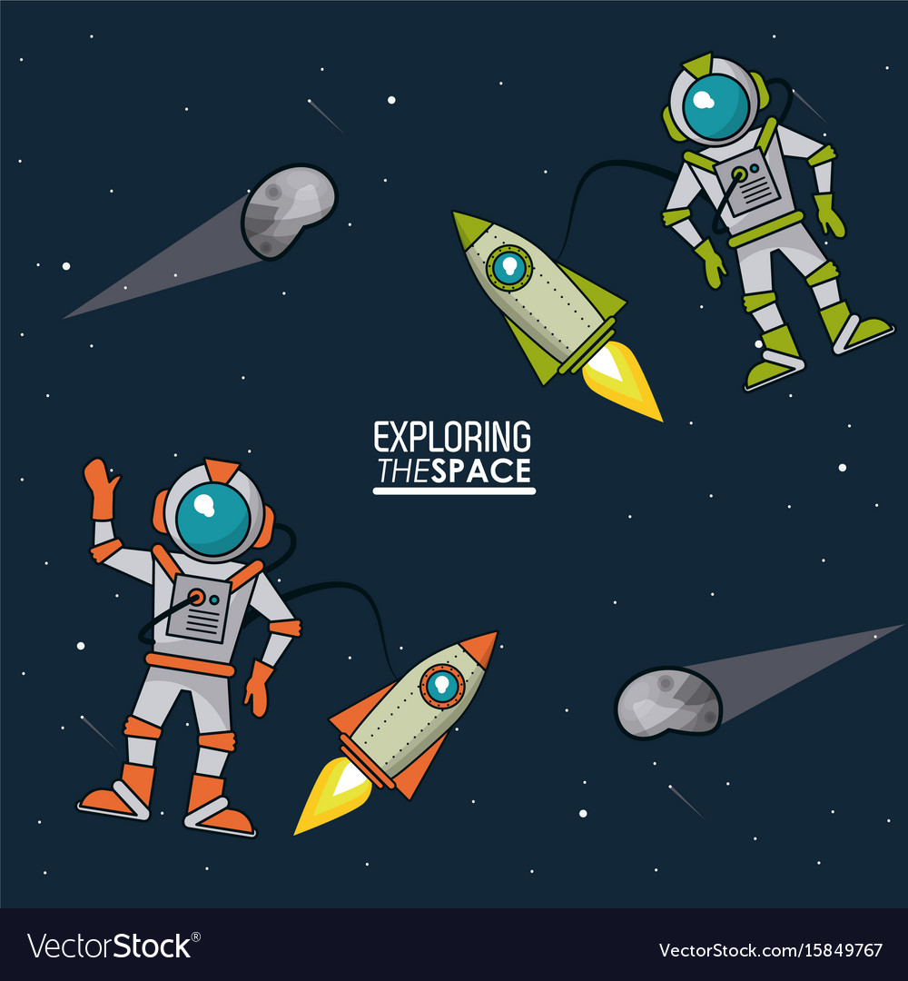 Colorful poster exploring the space with vector image