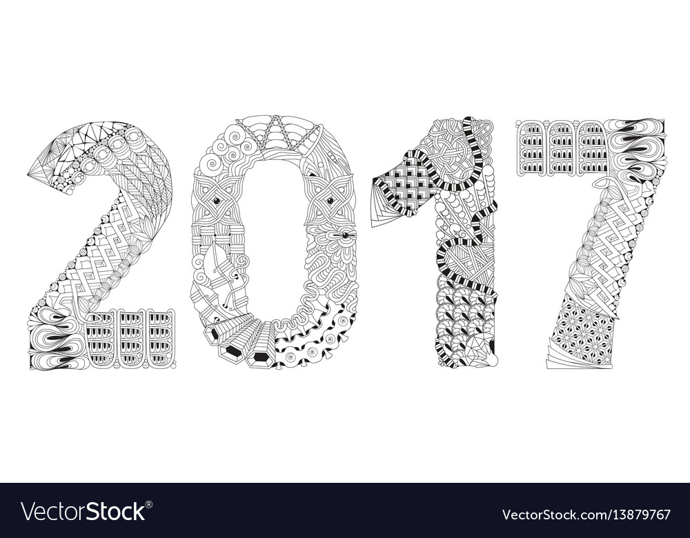 Number 2017 zentangle decorative object vector image