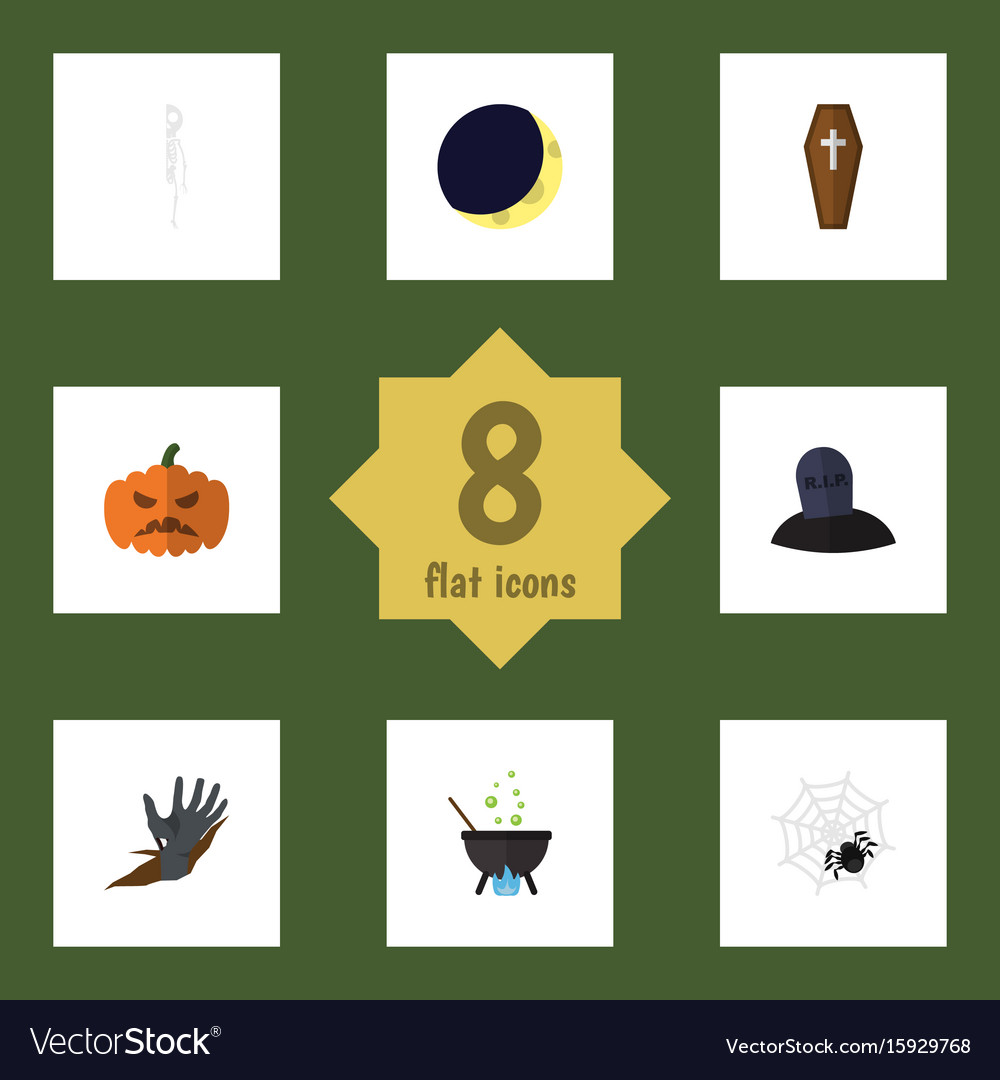Flat icon celebrate set of spinner tomb pumpkin vector image
