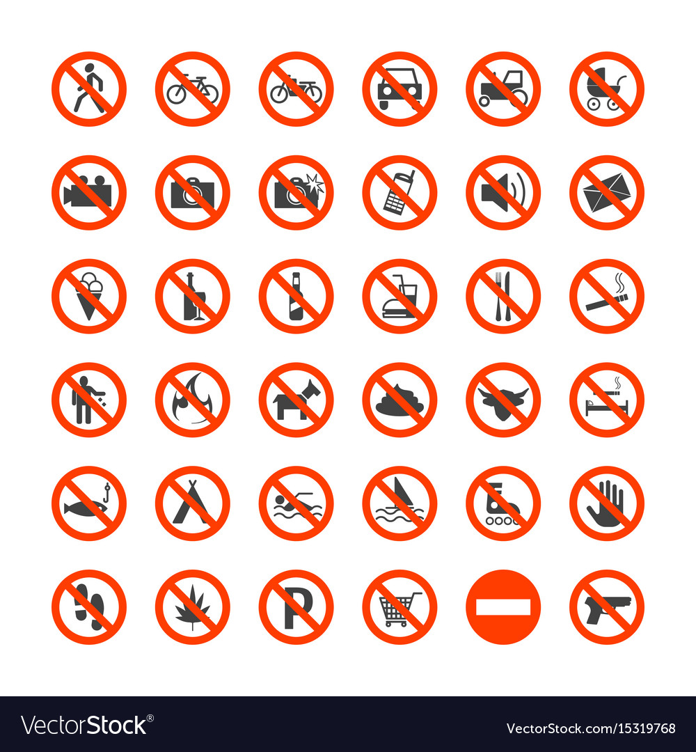 Prohibition signs icons set vector image