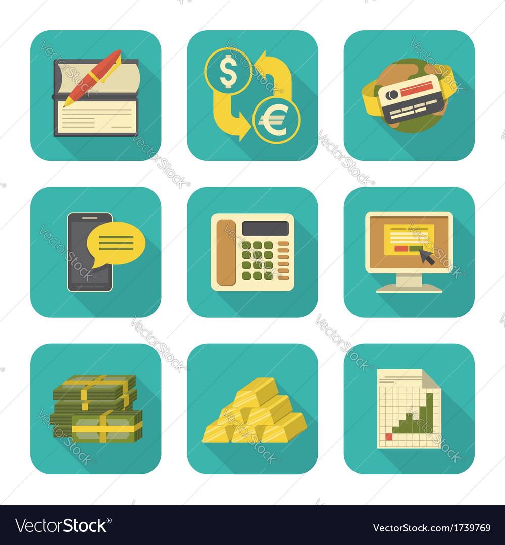 Modern Flat Financial Icons Set vector image