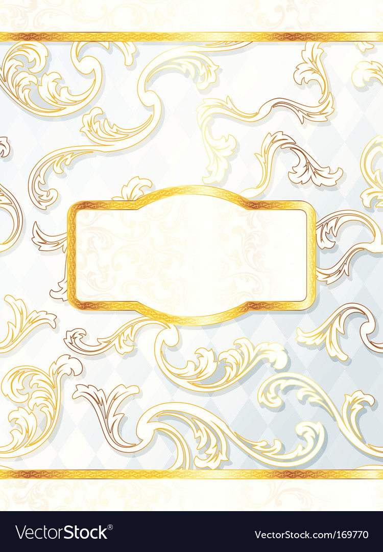 Beautiful vertical rococo wedding label vector image