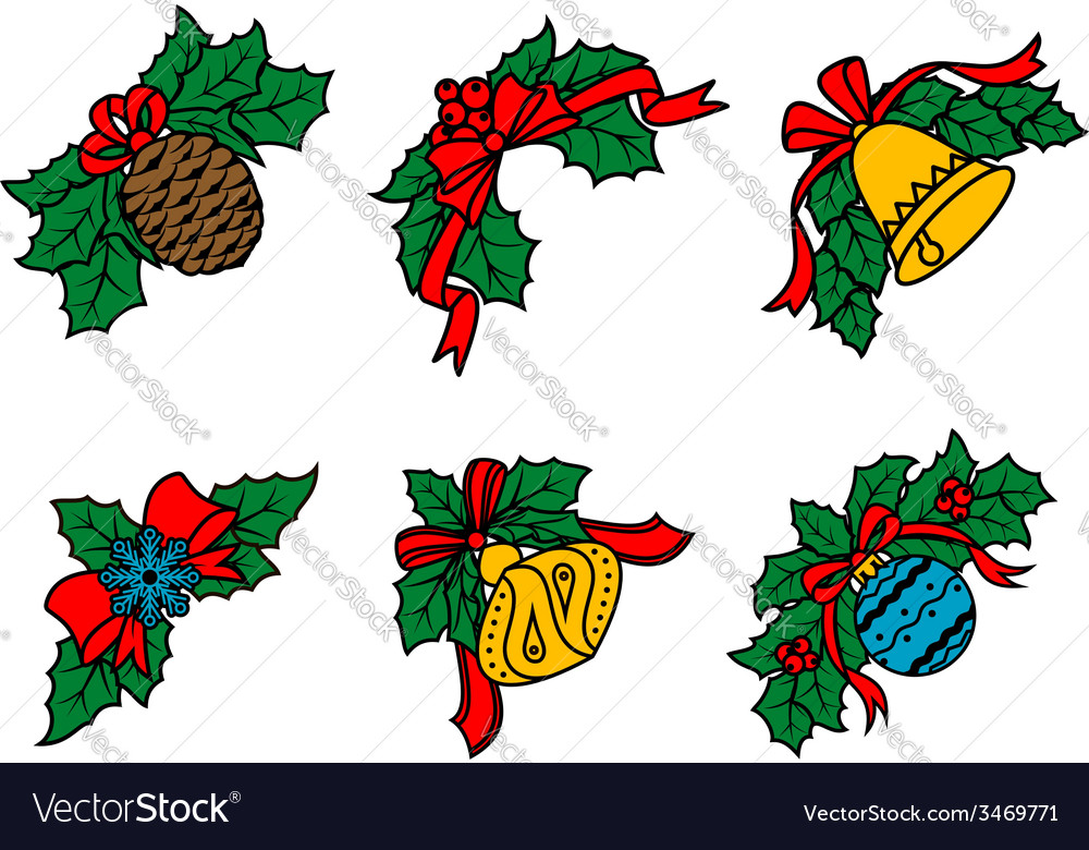 Christmas decors on leaves with red ribbons vector image