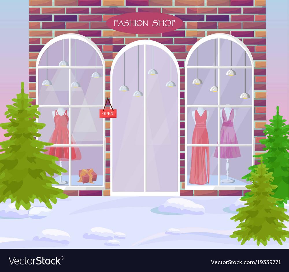 Fashion shop facade architecture vector image