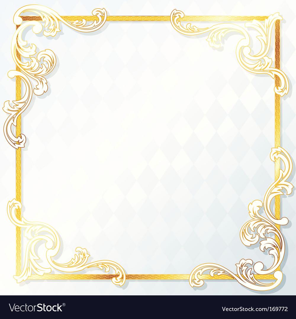 Beautiful square rococo wedding frame vector image