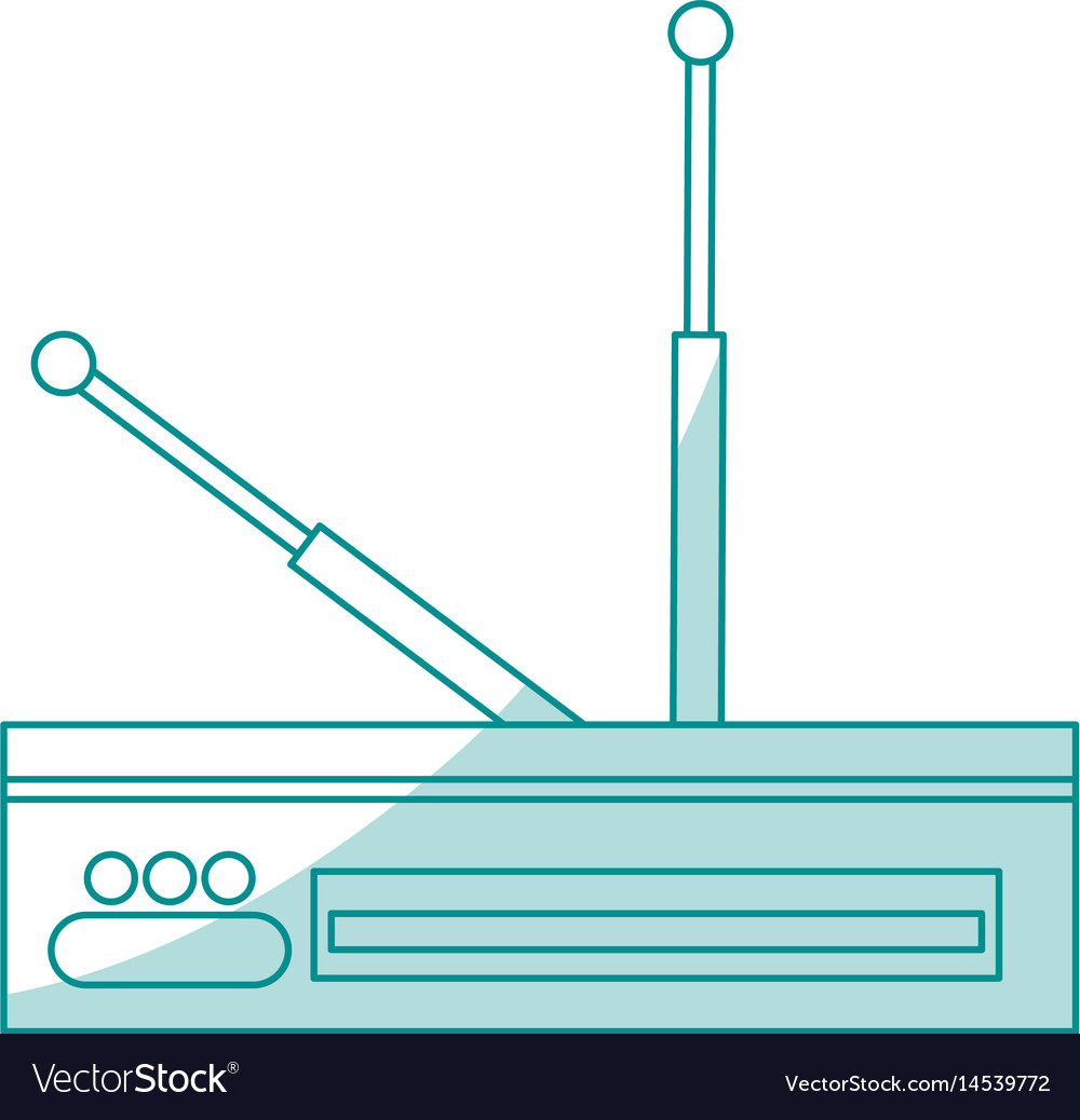 Blue silhouette shading decoder antenna tv vector image