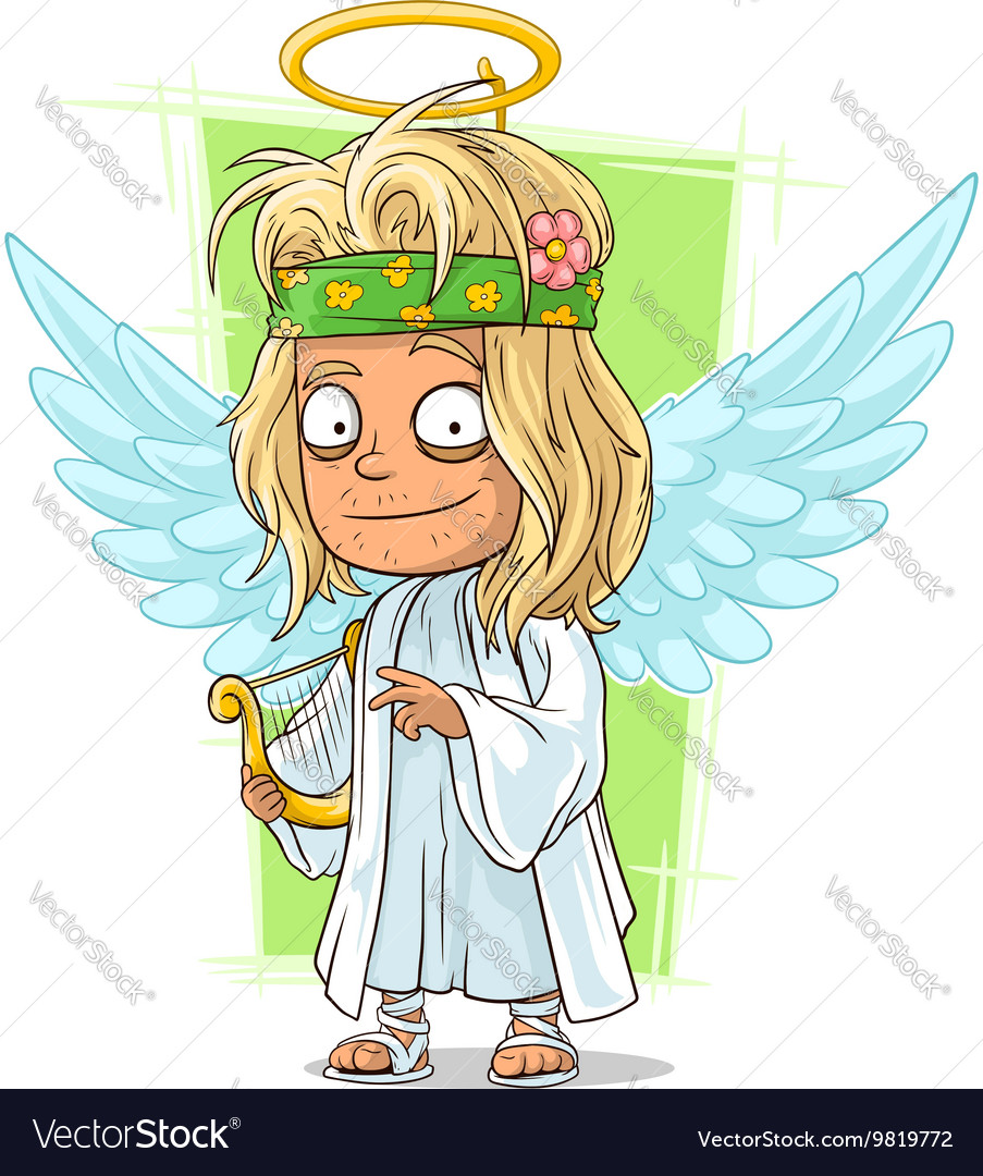 Cartoon good longhair hippie angel vector image