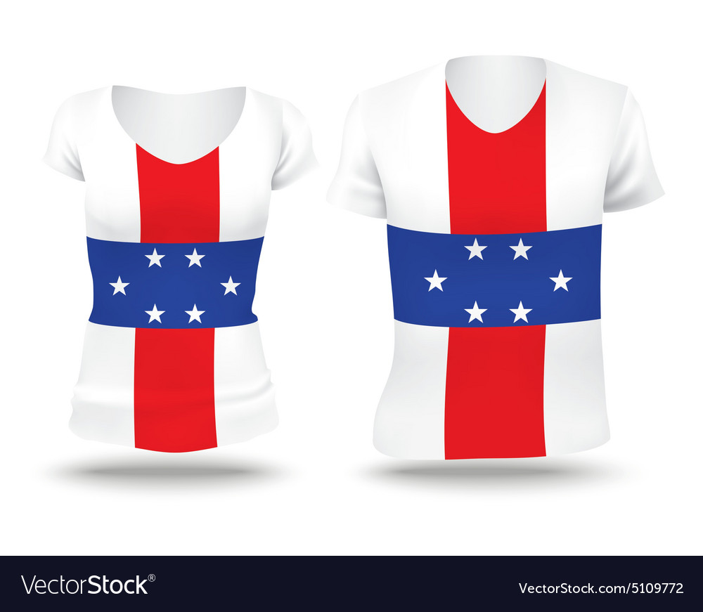 Flag shirt design of Netherlands Antilles vector image