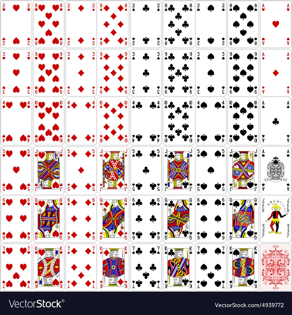 Poker cards full set four color classic design vector image