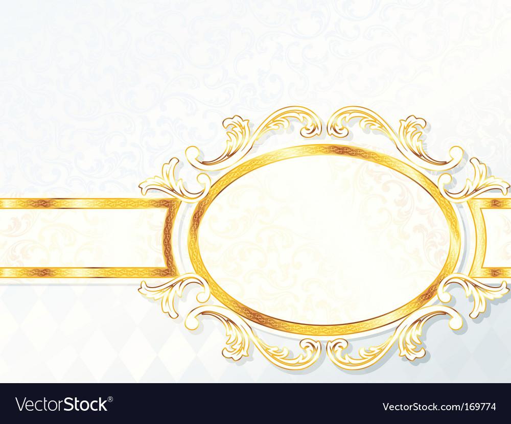 Beautiful horizontal rococo wedding banner vector image