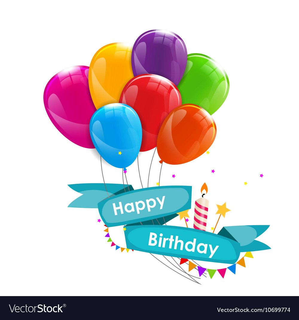 Happy birthday card template with balloons ribbon vector image bookmarktalkfo Choice Image