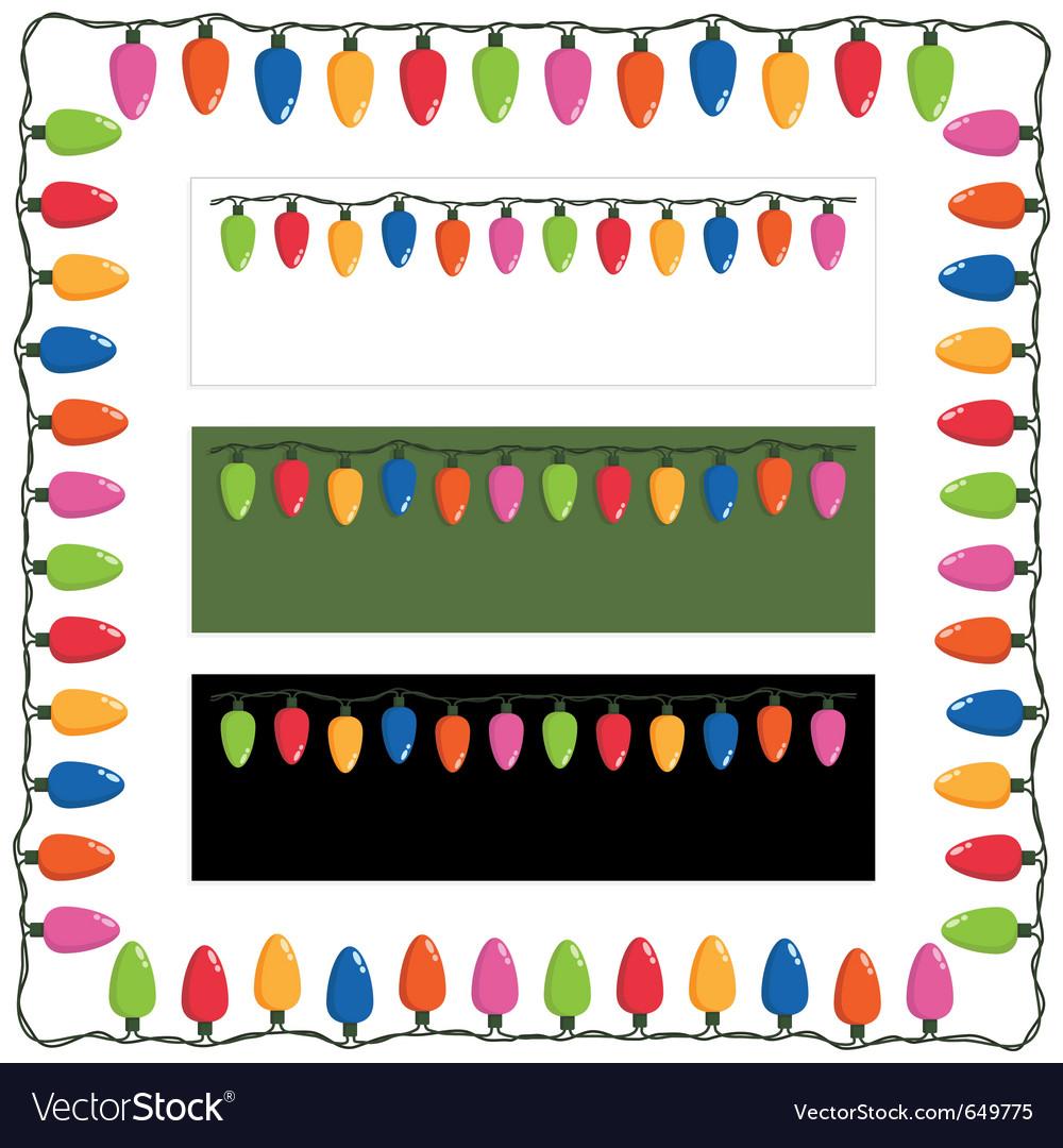 Christmas lights frame vector image